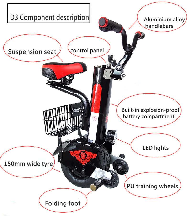 Caracteristicas monociclo electrico con asiento